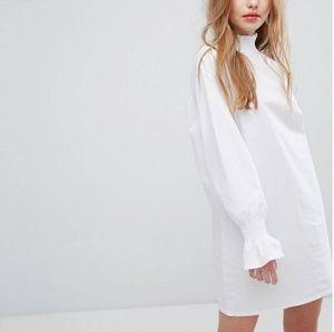 ASOS White Plain Studios Long Sleeve Shift Dress